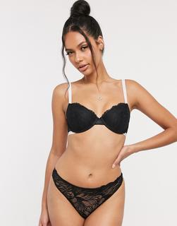 Calvin Klein - Perfectly Fit – Schwarzer Tanga mit Spitze