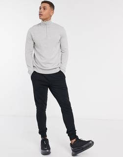 Selected Homme - Pullover mit kurzem Reißverschluss in Hellgrau