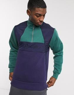 River Island - Prolific – Marineblaues Sweatshirt mit halblangem Reißverschluss-Navy