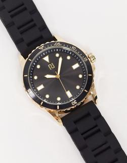 River Island - Uhr mit Silikonarmband in Schwarz und Gold