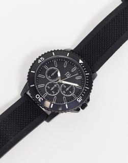 River Island - Armbanduhr aus schwarzem Silikon