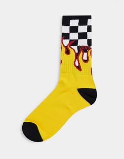 Vans - Flame Check – Schwarz-weiße Crew-Socken
