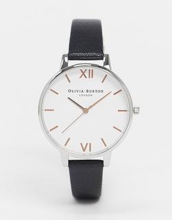 Olivia Burton - Leder-Armbanduhr mit weißem Zifferblatt in Schwarz und Roségold