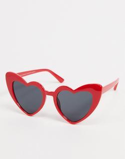 SVNX - Herzförmige Sonnenbrille in Rot