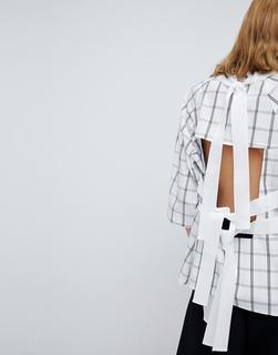 ASOS White - Oberteil mit Gittermuster und Rückenausschnitt-Mehrfarbig