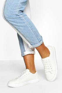 boohoo - Womens Wide Fit Basic Lace Up Canvas Trainers - White - 4, White