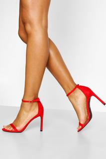 boohoo - Womens Barely There Zweiteilige Pumps Mit Stiletto-Absatz - Rot - 36, Rot