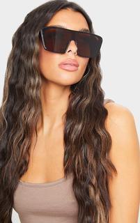 PrettyLittleThing - Black Square Frame Oversize Sunglasses, Black