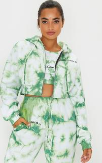 PrettyLittleThing - Petite Mint Tie Dye Cropped Embroidered Zip Hoodie, Green