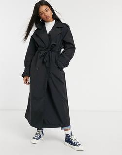 ASOS DESIGN - Taft-Trenchcoat in Schwarz