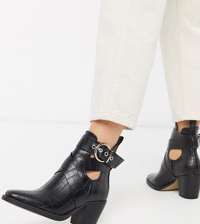 Truffle Collection - Stiefel mit Absatz, Schnalle im Western-Stil und weiter Passform, in Kroko-Schwarz