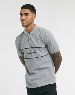 Fred Perry - Polohemd mit Button-Down-Kragen in Dunkelgrau