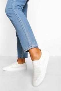 boohoo - Womens Croc Basic Slip On Skater - White - 4, White
