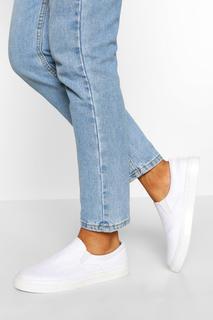 boohoo - Womens Basic Slip On Skater - White - 4, White