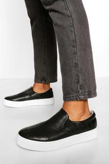 boohoo - Womens Croc Basic Slip On Skater - Black - 3, Black