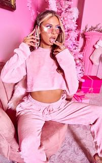 PrettyLittleThing - Shape Pink Diamante Velour Long Sleeve Sweater, Pink