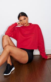 PrettyLittleThing - Red Sport Cropped Sweater, Red