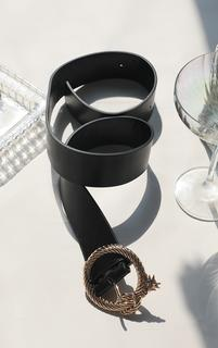 PrettyLittleThing - Black With Gold Snake Buckle Waist Belt, Black