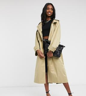 ASOS Tall - ASOS DESIGN Tall – Utility-Trenchcoat mit Oversize-Passform in Stone-Beige