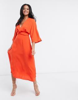 ASOS DESIGN - Mittellanges Skater-Kleid in Orange mit Fledermausärmeln und Twist-Front