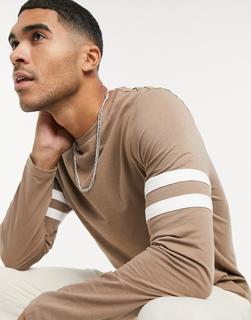 ASOS DESIGN - Langärmliges Shirt in Braun mit Kontraststreifen am Ärmel