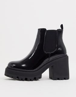 Missguided - Chelsea-Stiefel mit profilierter Sohle in Schwarz