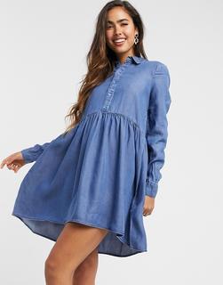 Vero Moda - Hänger-Hemdkleid aus Denim in Blau