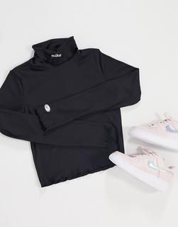 Nike - Langärmliges, geripptes Rollkragenoberteil-Schwarz