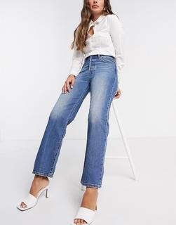 Levis - Levi's – Ribcage– Knöchellange Straight-Jeans in Blau