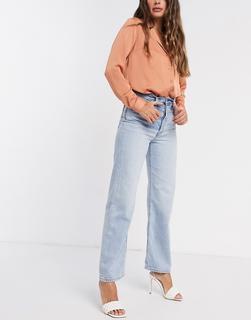 Levis - Levi's – Ribcage – Knöchellange Straight-Jeans in Bleach-Waschung-Blau
