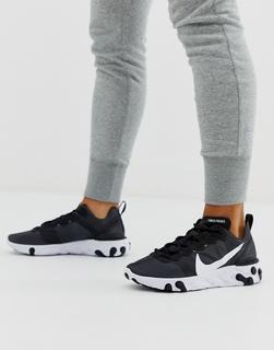 Nike - React Element 55 – Sneaker in Schwarz und Weiß