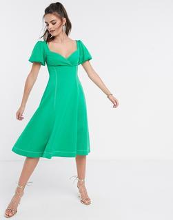 ASOS DESIGN - Grünes Midi-Ballkleid mit Puffärmeln und kontrastierender Ziernaht
