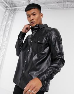 ASOS DESIGN - Hemdjacke aus Kunstleder in Schwarz