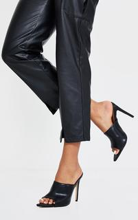 PrettyLittleThing - Black Pu Pointed High Heeled Mules, Black