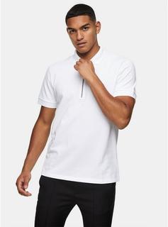 Topman - Mens White Tonal Zip Polo, White