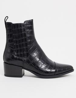 Vagabond - Marja – Spitze Ankle Boots im Westernstil in Kroko-Schwarz-Braun