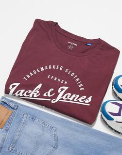 Jack & Jones - Originals – T-Shirt mit rundem Logo-Rot