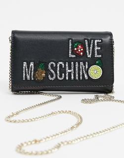 Love Moschino - Schwarze Handtasche mit Kettenriemen und Logo
