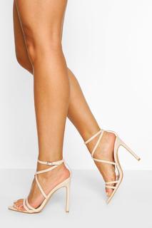 boohoo - Womens Wide Fit Pointed Toe Strappy Heel - Beige - 8, Beige