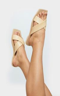 PrettyLittleThing - Sand Leather Square Toe Cross Strap Mule Flat Sandals, Sand