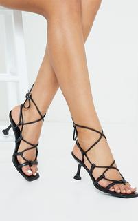 PrettyLittleThing - Black Lace Up Low Cake Stand Heel Wide Fit Sandals, Black