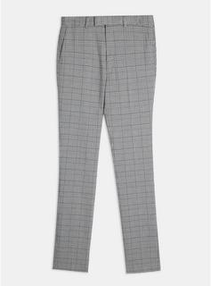 Topman - Mens Big & Tall Grey Check Skinny Suit Trousers, Grey