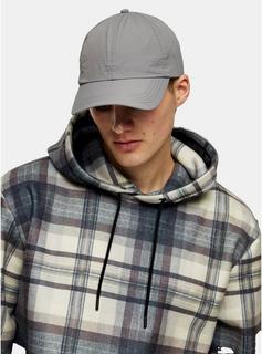 Topman - Mens Grey Crinkle Nylon Cap, Grey