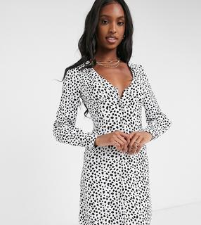 Glamorous Tall - Minikleid mit V-Ausschnitt und Punktemuster-Schwarz