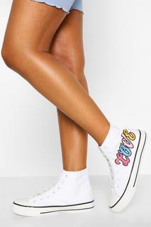 boohoo - Womens Love High Top Canvas Trainers - White - 4, White
