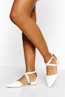 boohoo - Womens Croc Pointed Toe Cross Strap Ballet Pumps - White - 37, White - 19.20 €
