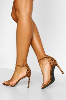 boohoo - Womens Barely There Zweiteilige Pumps Mit Stiletto-Absatz - Leopard - 36, Leopard