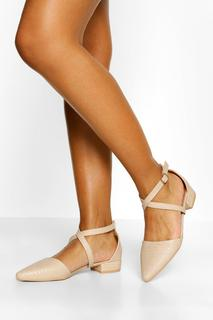 boohoo - Womens Croc Pointed Toe Cross Strap Ballet Pumps - Nude - 41, Nude
