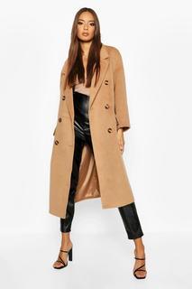 boohoo - Womens Zweireihiger Mantel In Gebürsteter Wolloptik Mit Gürtel - Kamelhaarfarben - 42, Kamelhaarfarben