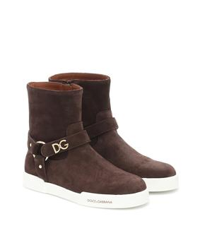 Dolce & Gabbana Kids - Ankle Boots aus Veloursleder
